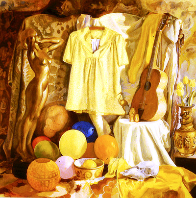 painting in yellows depicting guitar, small statue of nude woman, frock, globes, drapery
