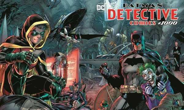 Capa da edição Detective Comics 1000 traz Coringa, Batman, Robin e outros