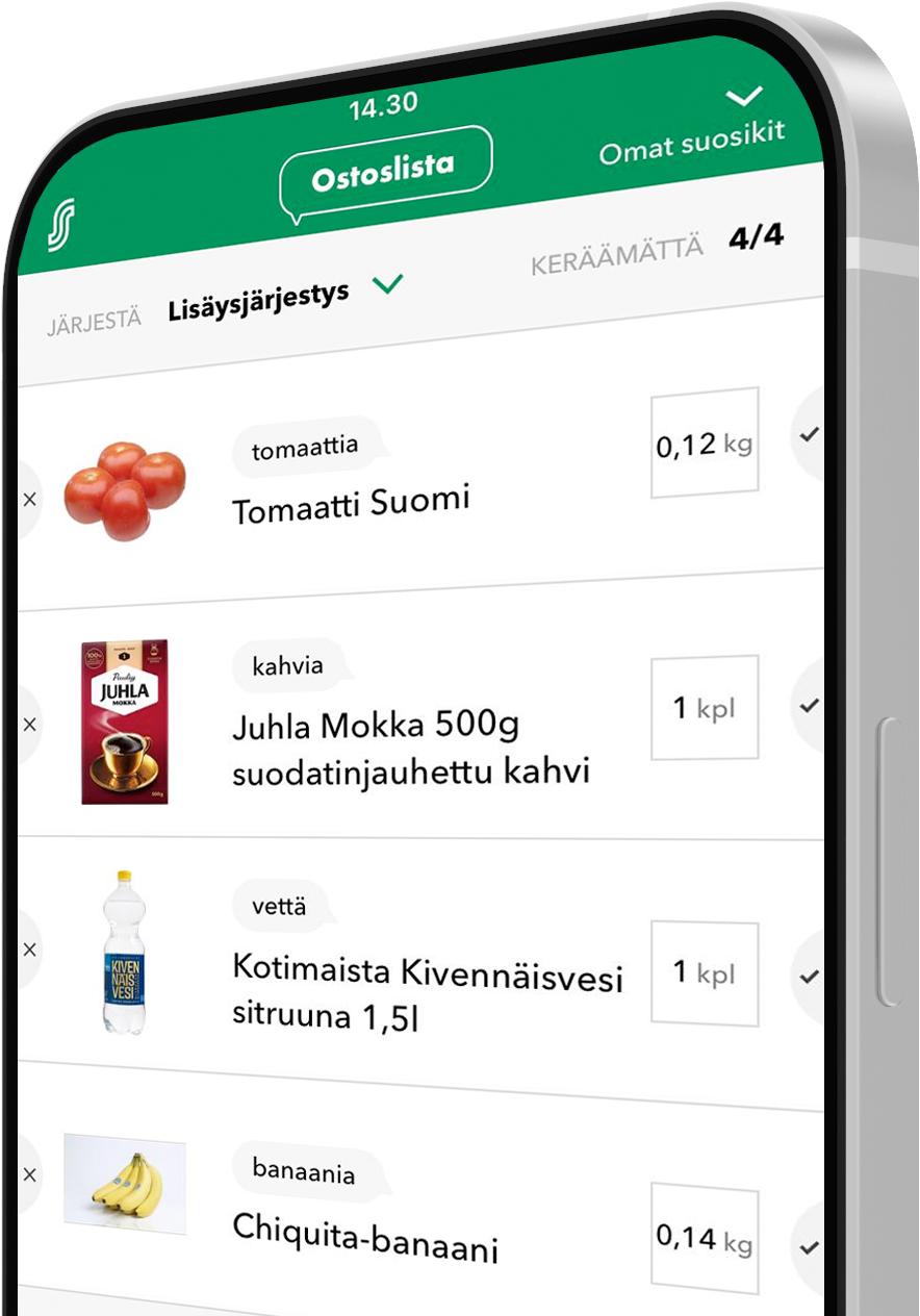 Speechly in action in S-Ostoslista grocery shopping list app