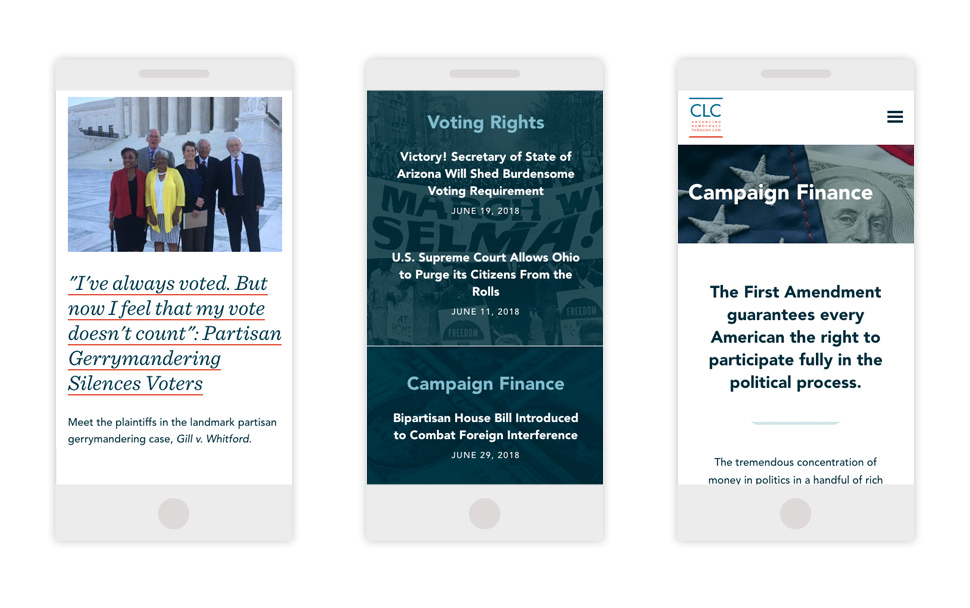 Examples of typography across CLC's site on mobile screens