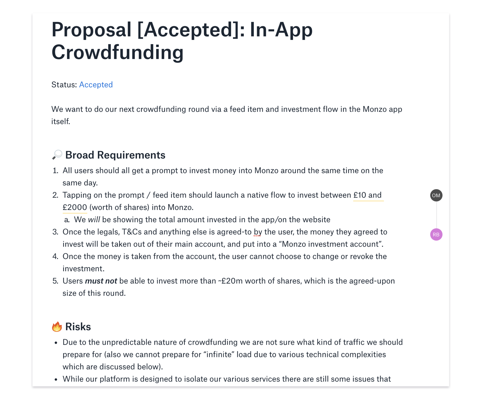 Proposal document for building crowdfunding in-app