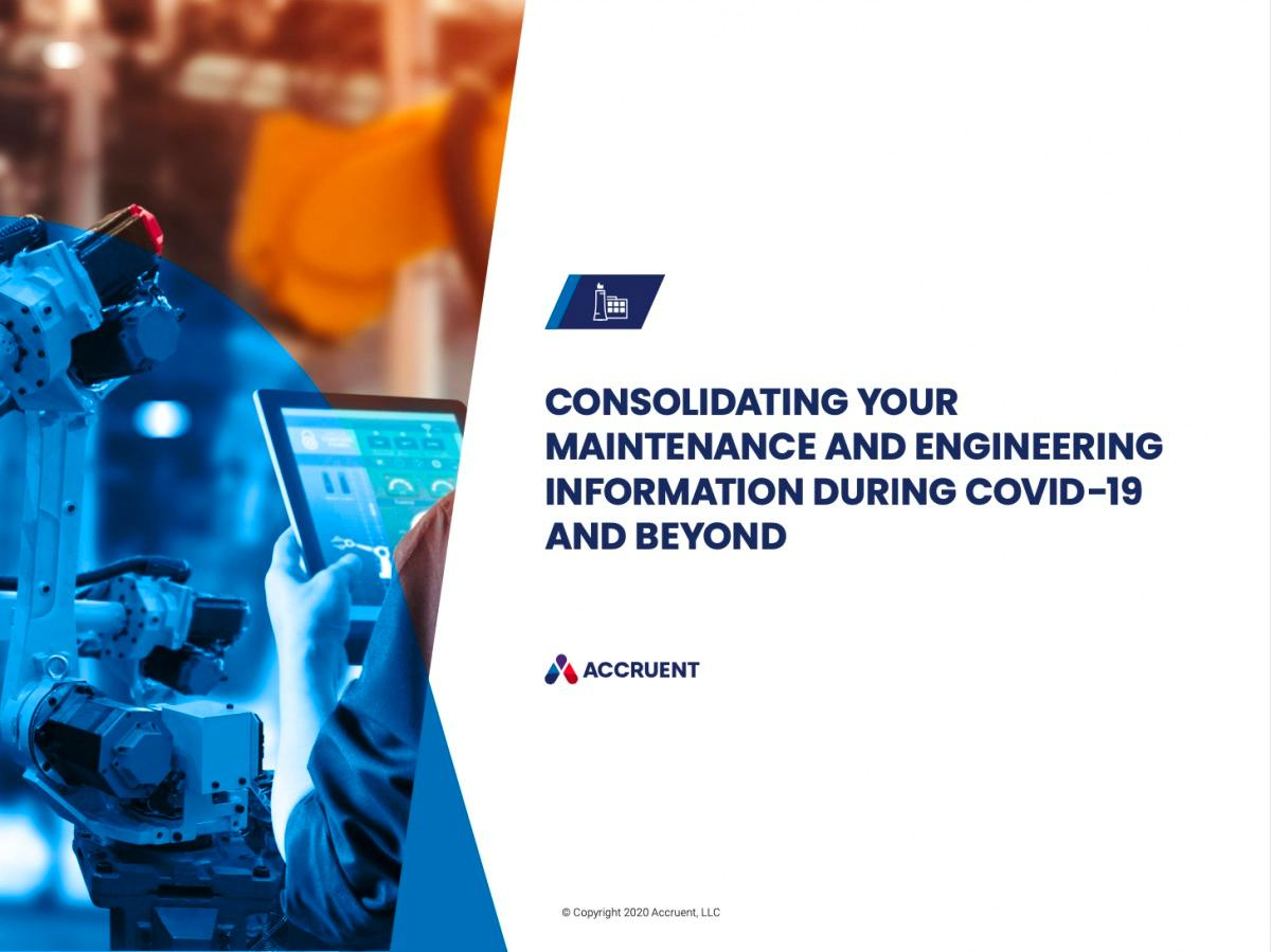 Accruent - Resources - eBooks - Consolidating Your Maintenance and Engineering Information During COVID-19 and Beyond - Cover Image