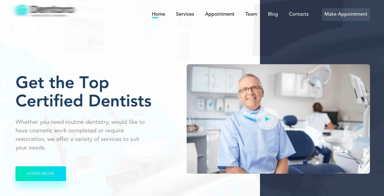 screenshot of website Dentora Dental Care