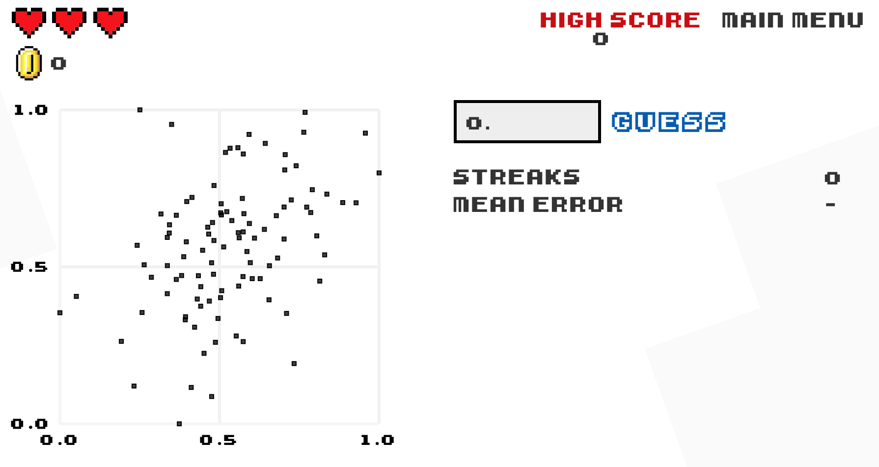 "Preview of ""Guess the Correlation"" game."