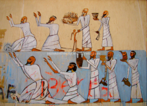 Figure 5: Second part of a mural replica depicting the tomb of Sobekhotep, by Alaa Awad, Mohamed Mahmoud Street, Cairo. Photograph by Soraya Morayef (2012)