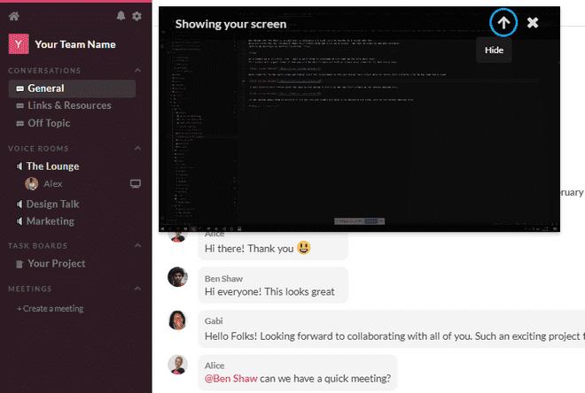 Hide screen sharing