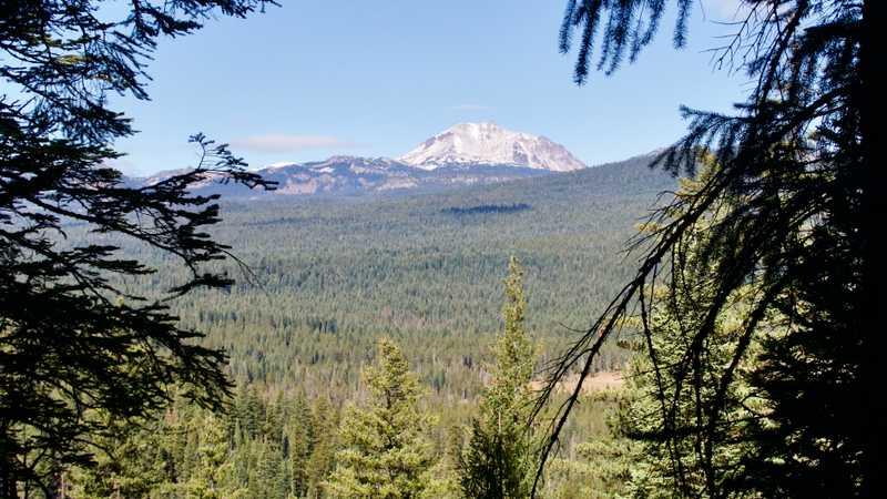 Snow-covered Lassen Peak