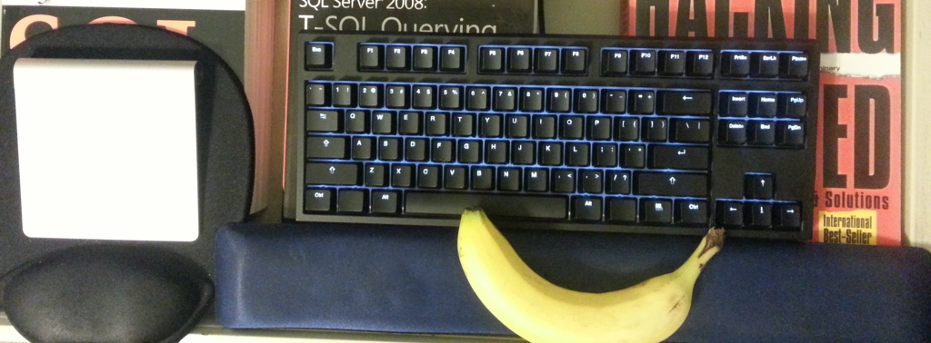 My New Code Keyboard from WASD Keyboards with a Banana for Scale