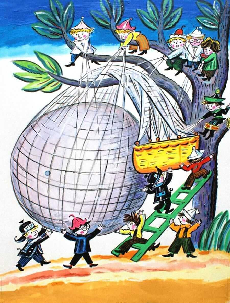 Эскиз иллюстрации «Как Знайка придумал воздушный шар» ккниге Н. Носова / Калаушин Б.М.