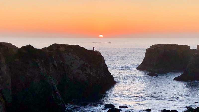 Sunset on the Pacific Ocean near Mendocino, California