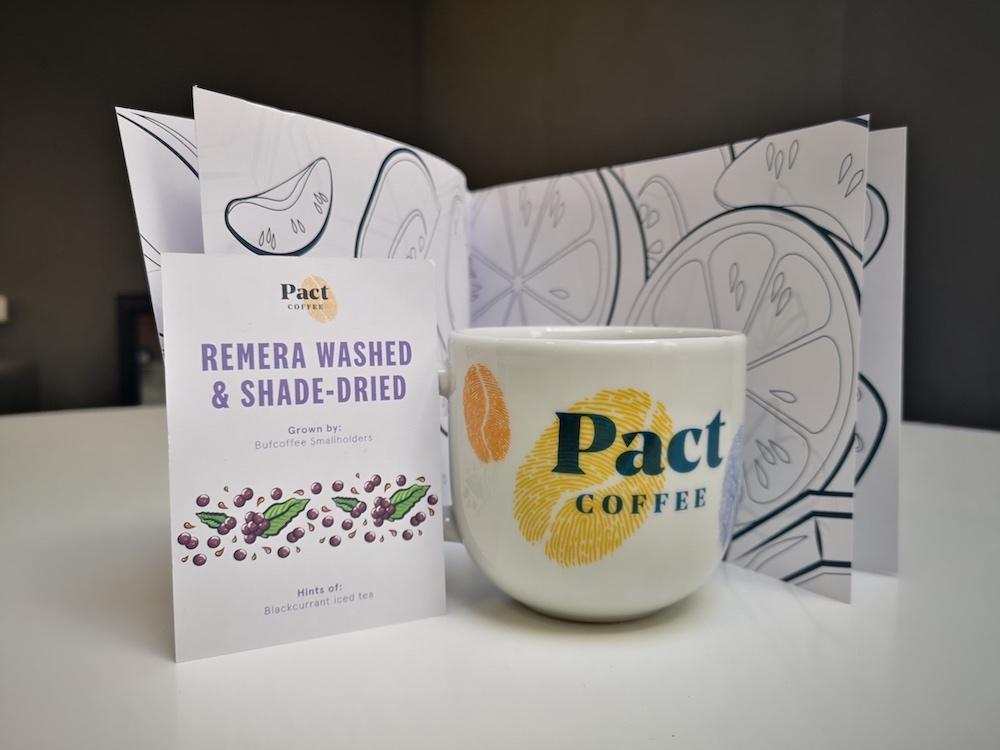 Coffee colouring book, mug, and coffee card