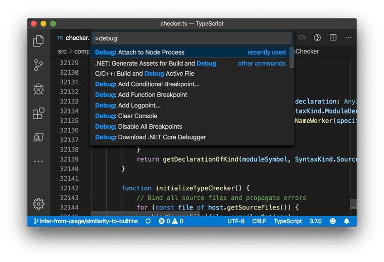 """A screenshot of VS Code with the command palette open, searching """"debug."""" A list of results is shown with """"Debug: Attach to Node Process"""" focused."""