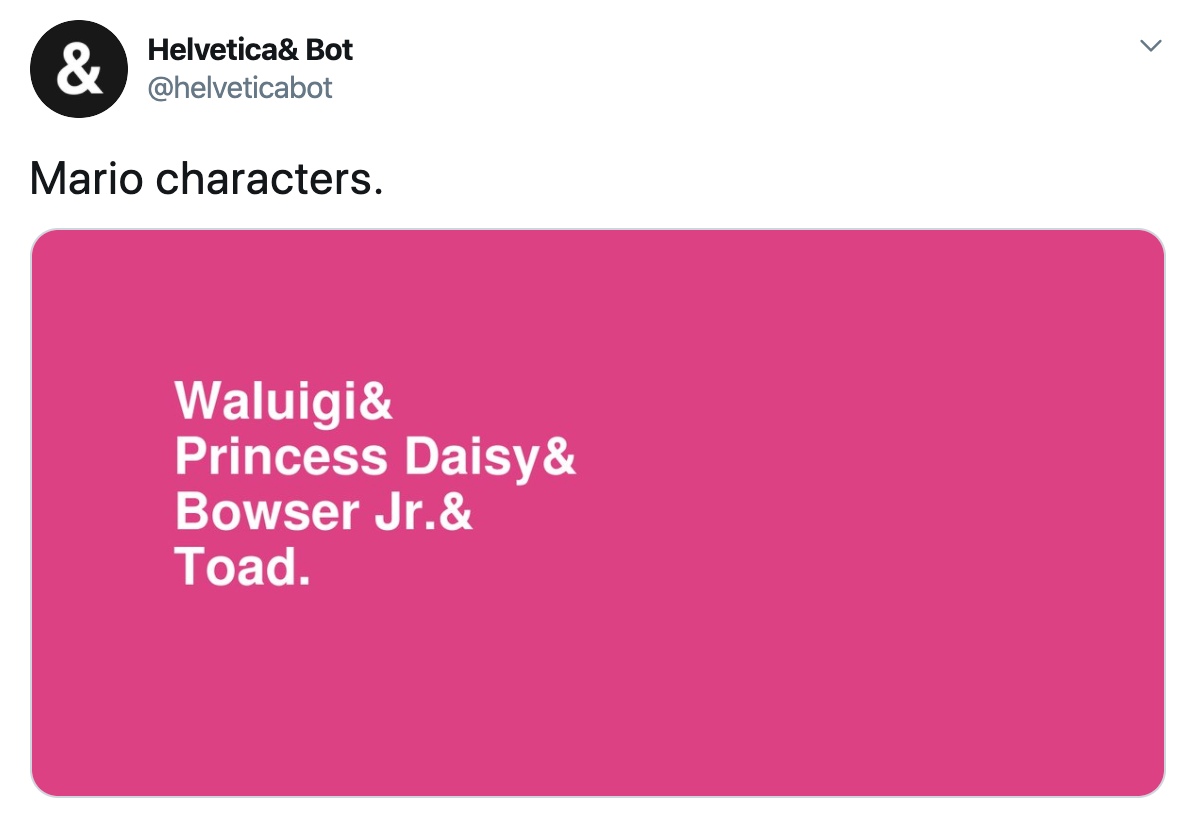 "Screenshot of a Helvetica Bot tweet. The category is ""Mario characters"""