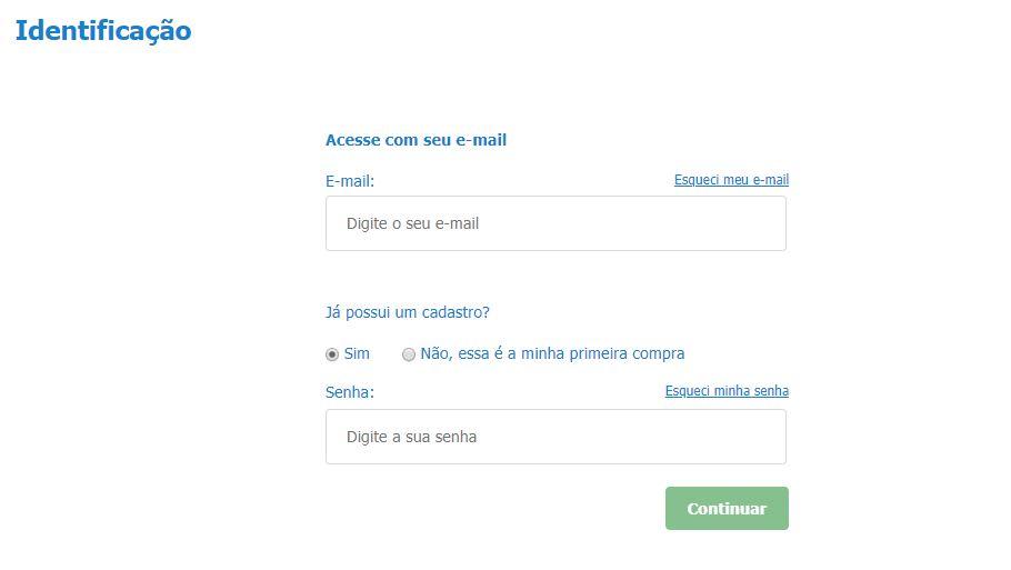 Coloque seus dados de login ou faça seu cadastro no site da Casas Bahia.