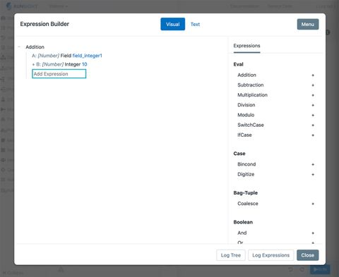 modal showing visual builder tool with list of expressions