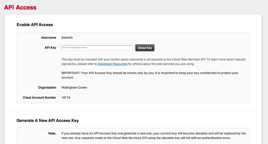 Rackspace API keys