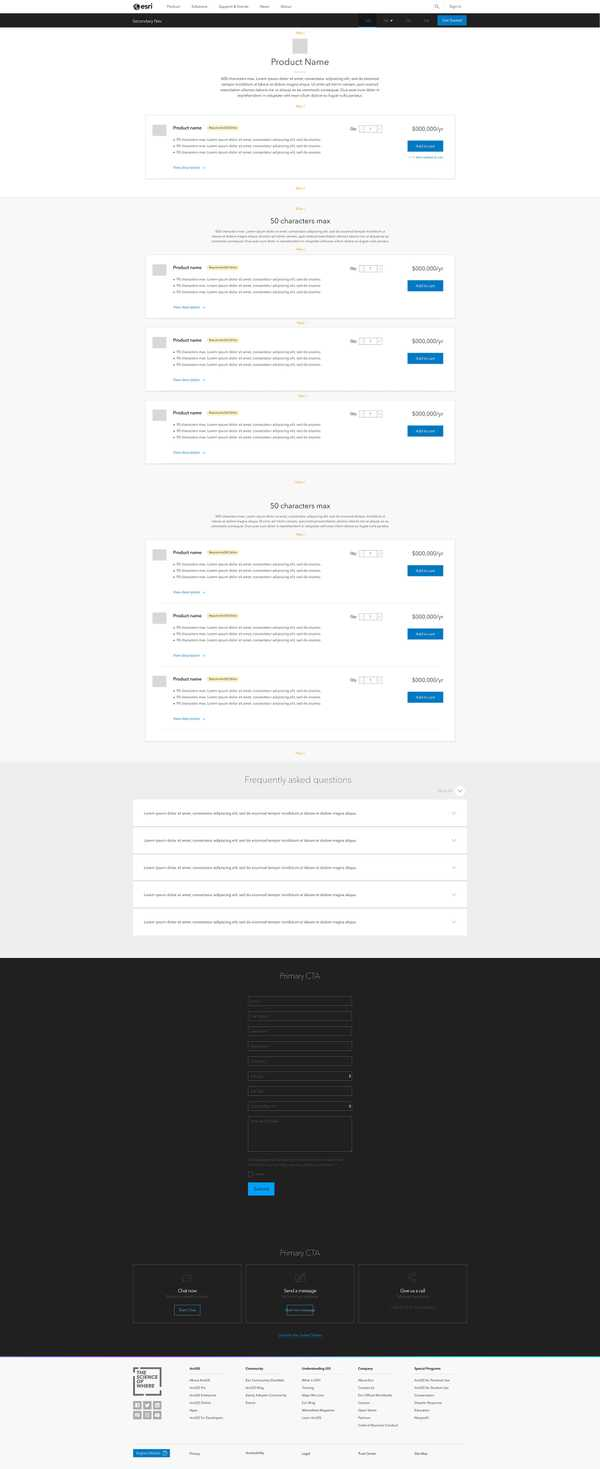 Buy page wireframe for primary products with cross-sell and/or up-sell