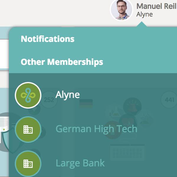 New user menu