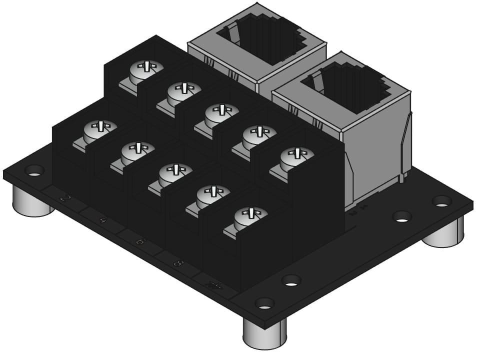 RJ45-TB2X5をネジ取付けする際の組立完成図