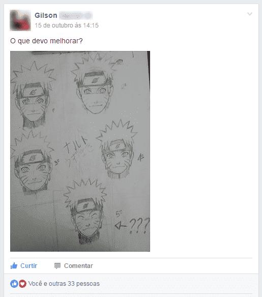 Depoimento dos alunos sobre o curso com vários desenhos do rosto de naruto
