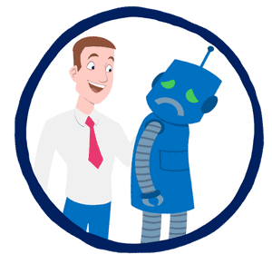 A financial advice robot that has broken down