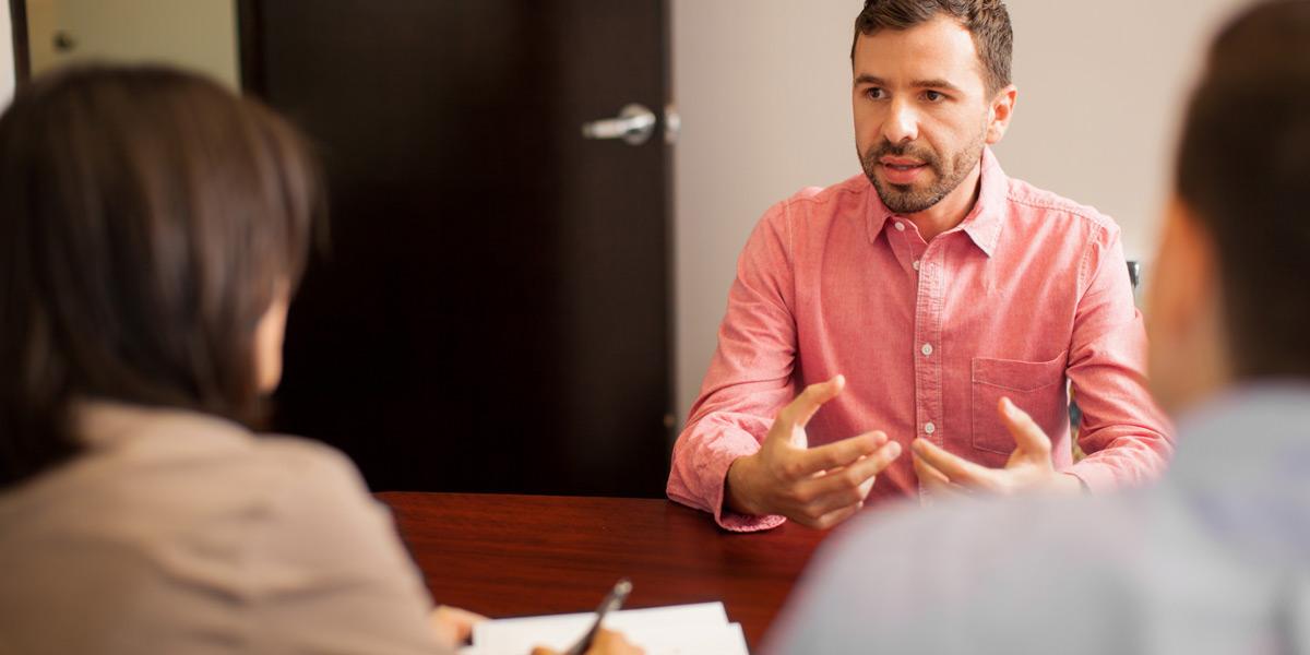 A junior web developer attends his first interview