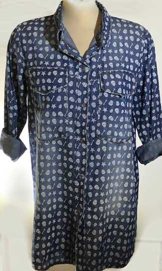 Italian Skulls Denim Long Shirt