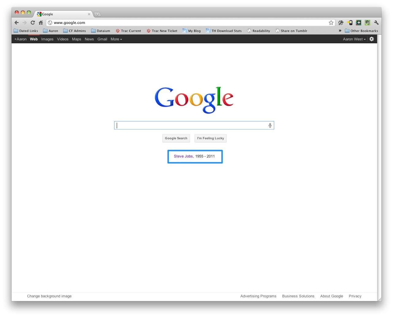 Google tribute to Steve Jobs