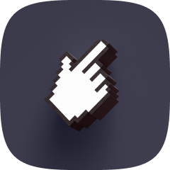 Pixalated pointing hand
