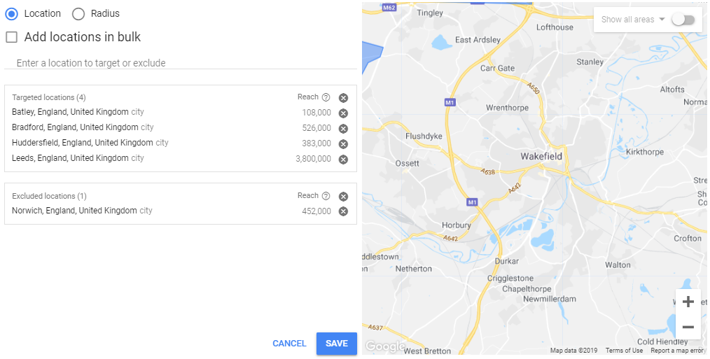 Location targeting - target or exclude locations