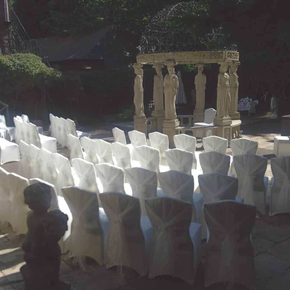 Outdoor wedding ceremony event on a sunny day