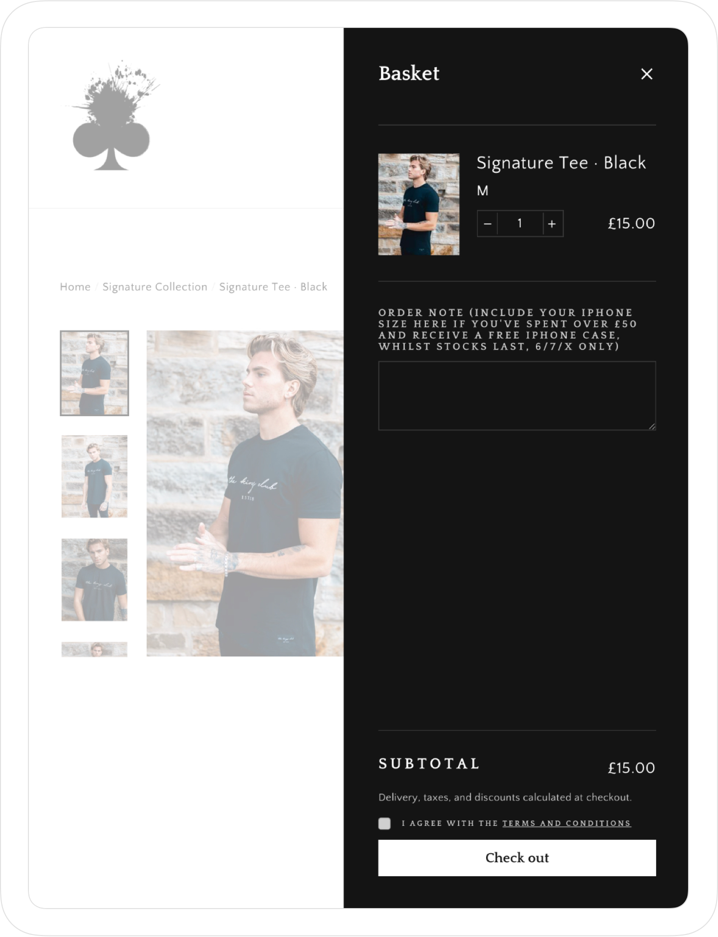 Basket, website and online store design for men's clothing brand, The Kings Club