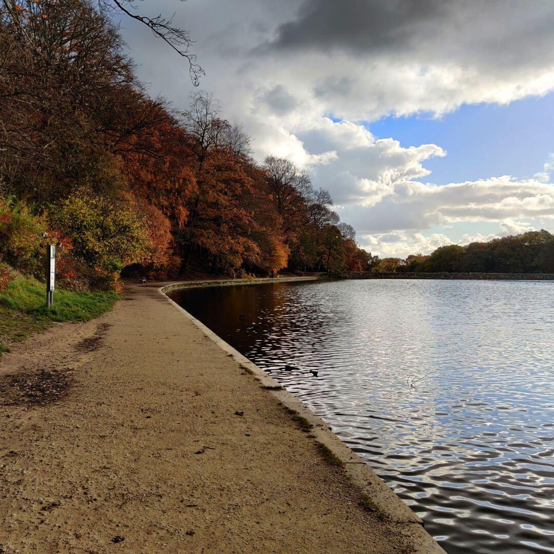Path around Roundhay Park Lake in Autumn