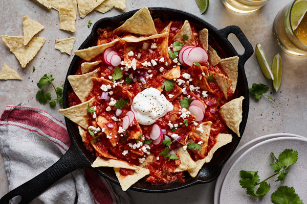 Easy Skillet Chilaquiles (Chilaquiles Rojos)