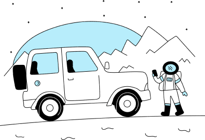 An illustration of a car and a person calling for help.