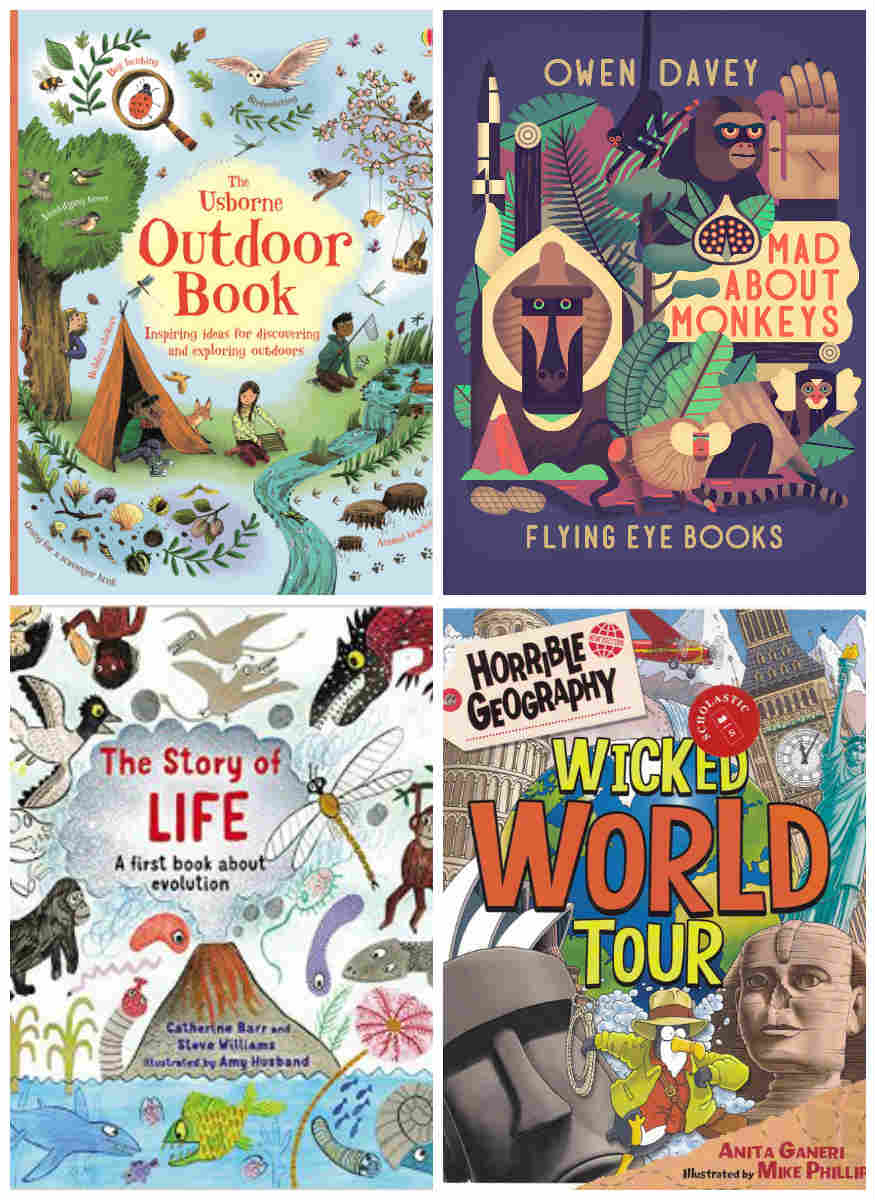 The Usborne Outdoor Book, Mad About Monkeys, The Story of Life and Wicked World Tour