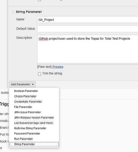 Adding parameters