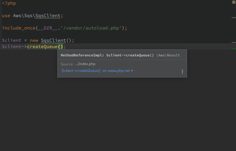AWS PHP SDK method doc