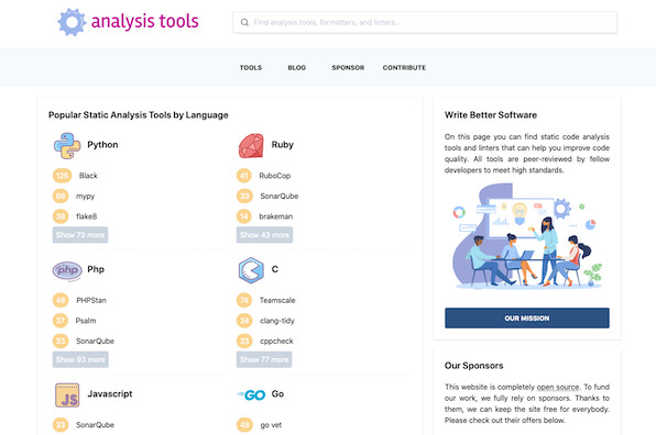 Screenshot of Analysis Tools