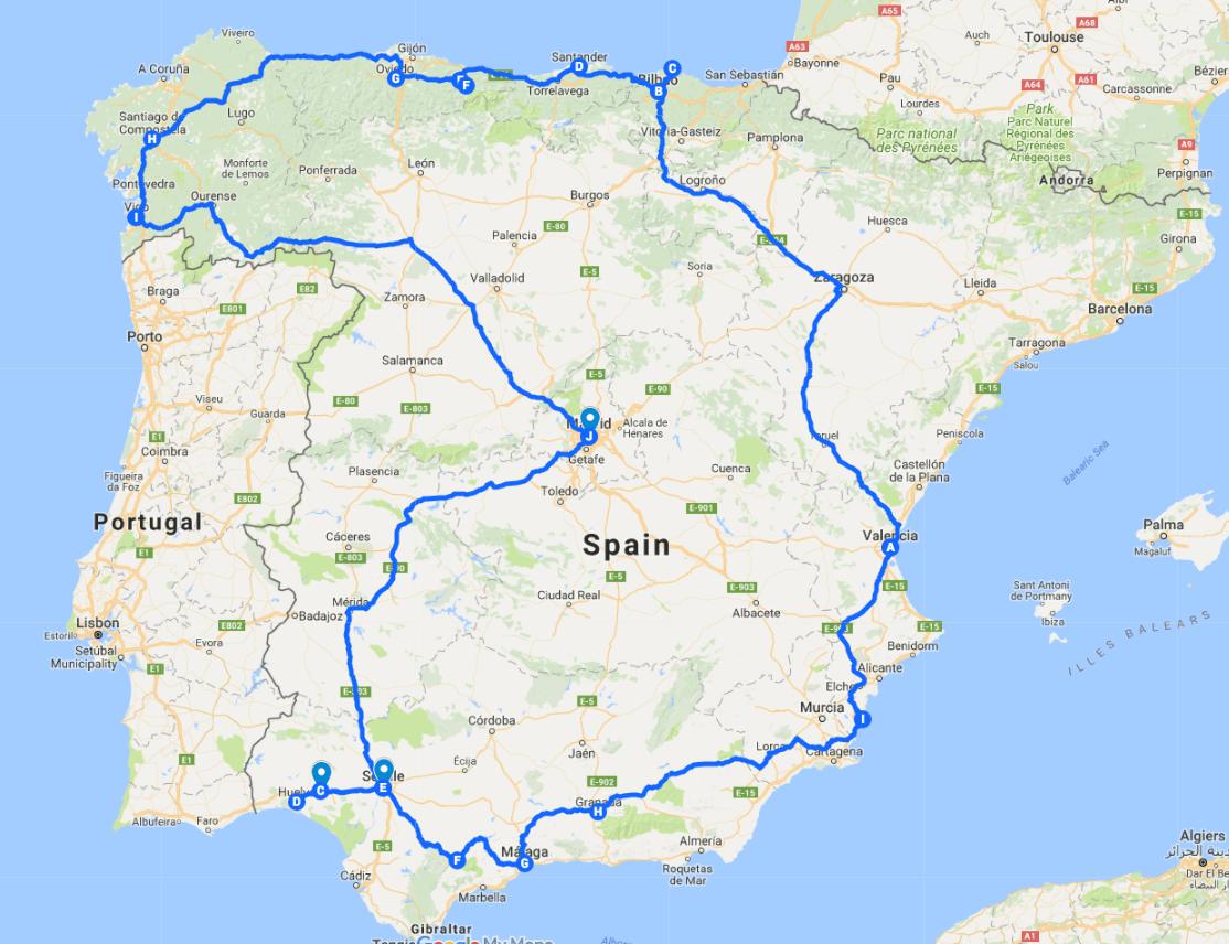 Percurso no mapa da Espanha