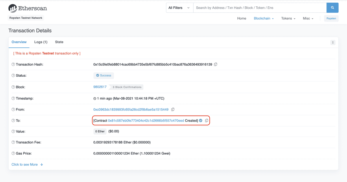 View your contract address on Etherscan