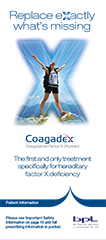 Cover of Coagadex and Factor X Deficiency Brochure