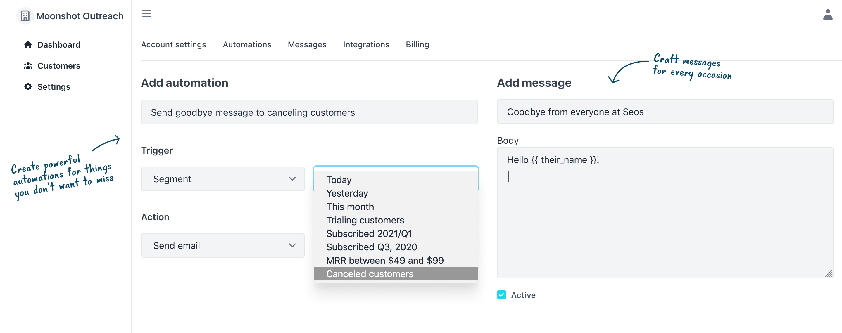 Preview of the automation and messages create pages