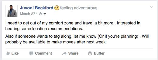 Facebook Status Inquiring About future travel destinations