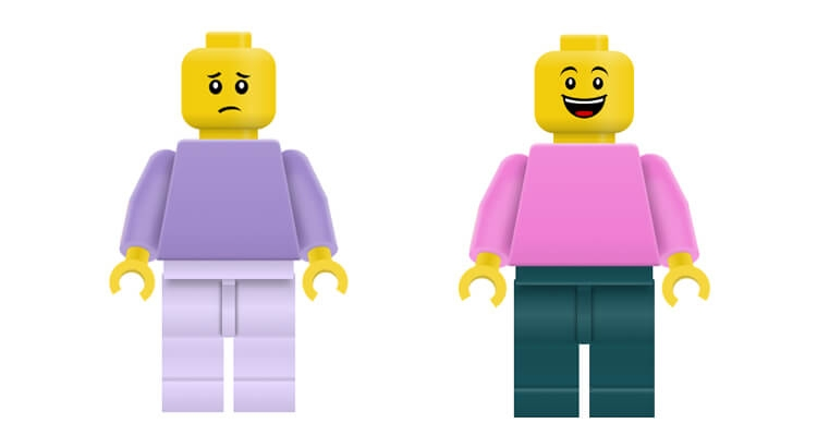 Lego mini figures made entirely from CSS and HTML