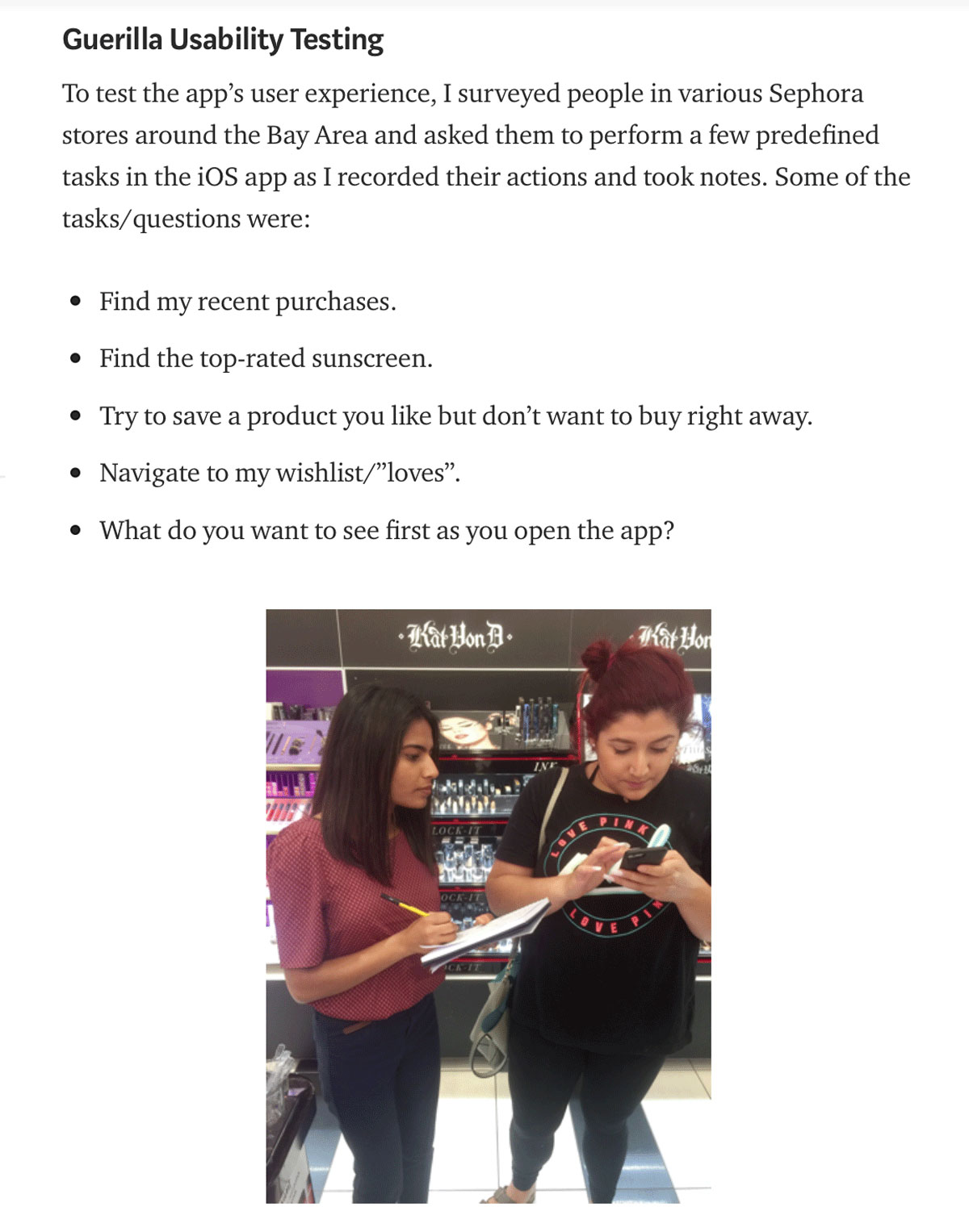 An extract from Priyanka Gupta's case study: An unsolicited redesign of the Sephora mobile app
