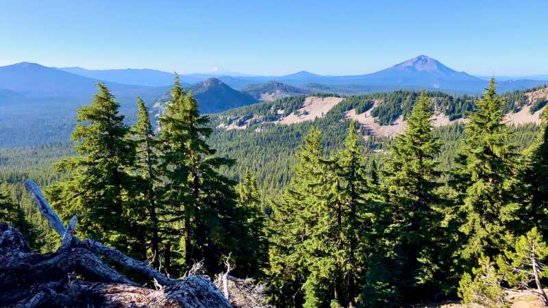 A view of Mt. McLoughlin and Mt. Shasta