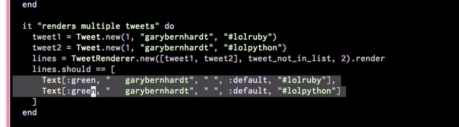 Functional programming - TweetRenderer spec