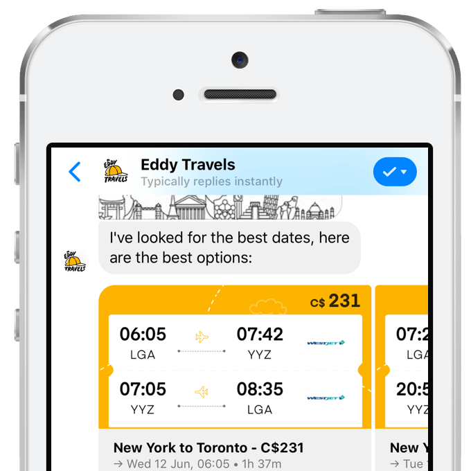 Screenshot of the Eddy Travels AI assistant