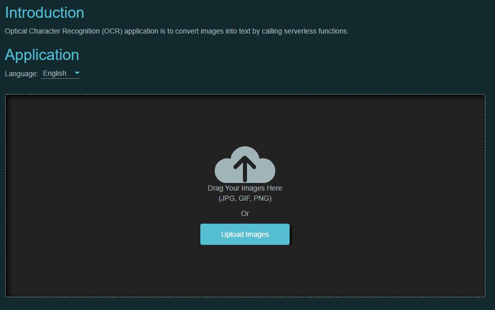 serverless OCR frontend UI
